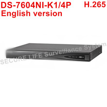 Free shipping English version DS-7604NI-K1/4P 4CH 4K NVR 1SATA and 4 POE ports,  H.265 Embedded Plug & Play NVR POE up to 8MP