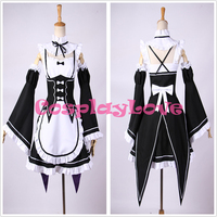 Re Life In A Different World From Zero Ram Rem Cosplay Costumes Black Made Dress Custom