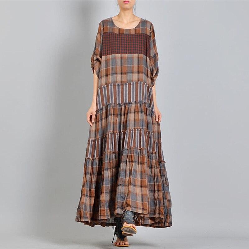 Johnature 2019 Summer Women Vintage Plaid Long Dresses New Loose Patchwork  Ruffles Half Sleeve O- e99449699b6f