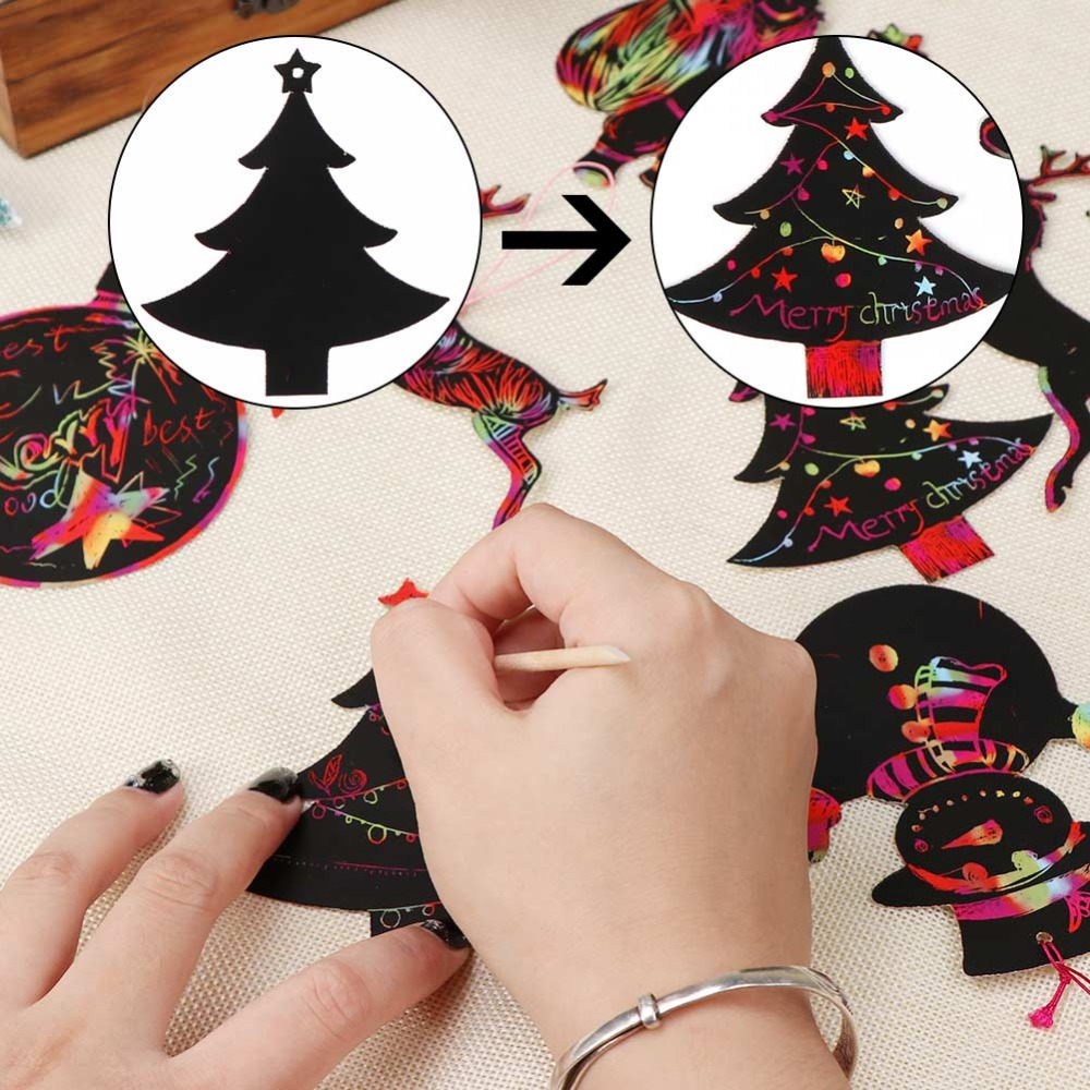 US $1 59 OFF Ourwarm 24 Buah Banyak Sihir Awal Dari Dan Warna Hiasan Natal Anak Anak Diy Kertas Ornamen Dekorasi Kartu Mewarnai Menggambar