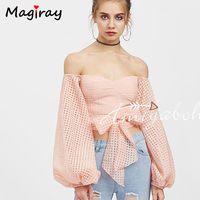 Sexy Strapless Off Shoulder Mesh Crop Top Backless Women Blouses Shirts 2017 Long Sleeve Ladies Tops