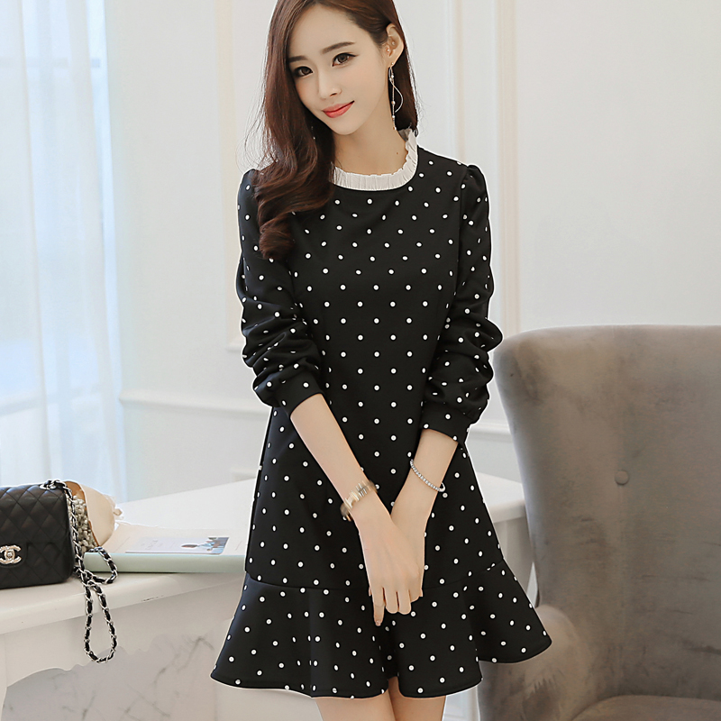 Fashion Korean 2016 Spring Teenage Girls Polka Dot Dresses With Ruffle Hem 14 18 Years Young
