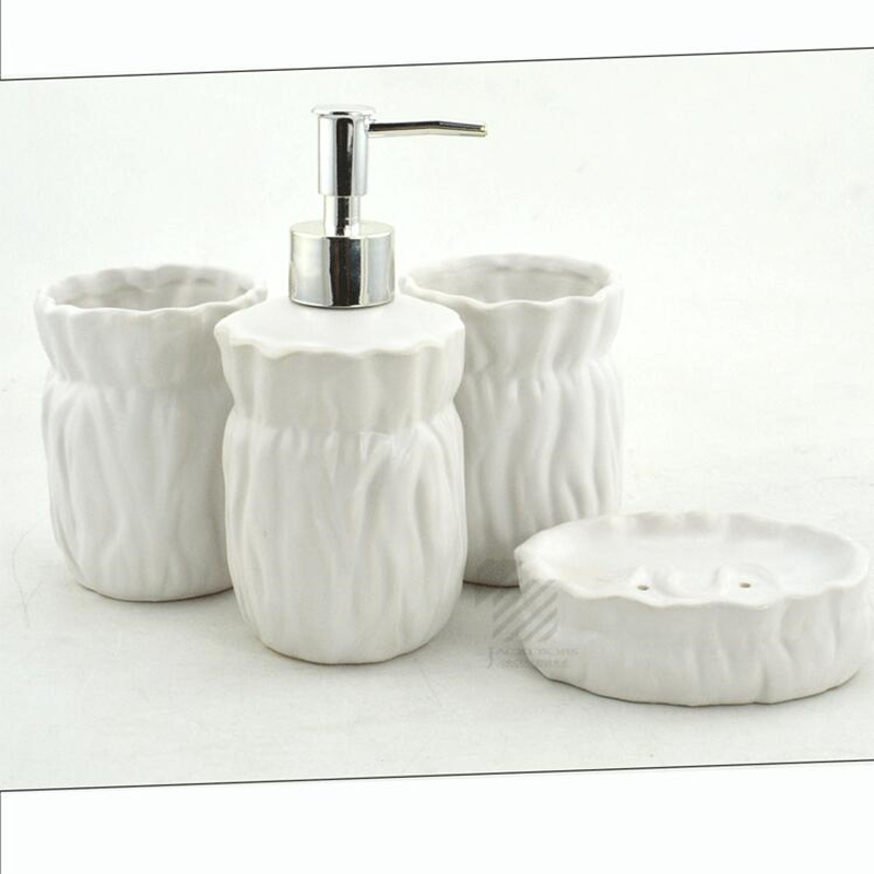 Bathroom Accessories Ceramic Sets 4pcs 1 Emulsion Bottle Soap Dish Cup Toothbrush Holder Beautiful Gift In