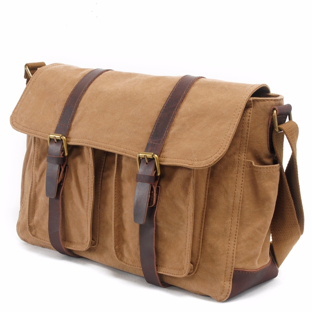 New men's canvas shoulder bag large capacity bags retro casual male influx of men casual bag 2156 men waterproof oil wax canvas bag retro casual male bag satchel business men s large capacity computer package