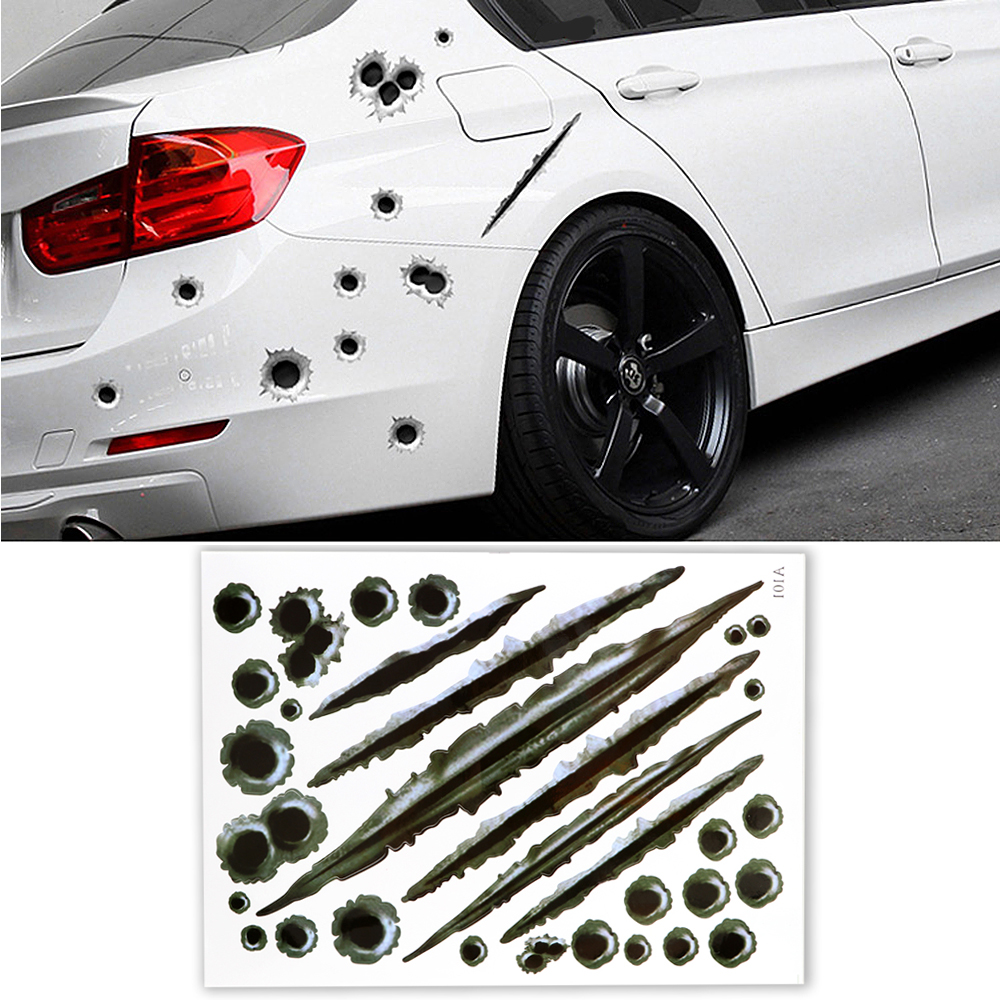 EAFC Funny Decal Stickers 3d-Bullet-Hole Scratch Car-Covers Motorcycle Waterproof Car-Styling
