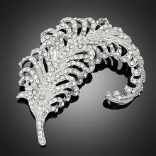 (6pcs Lot)Cheap Wholesale Long Feathet Brooches Jewelry Fashionable  Beautiful AB Rhinestone Crystal 8c57a12ebf10