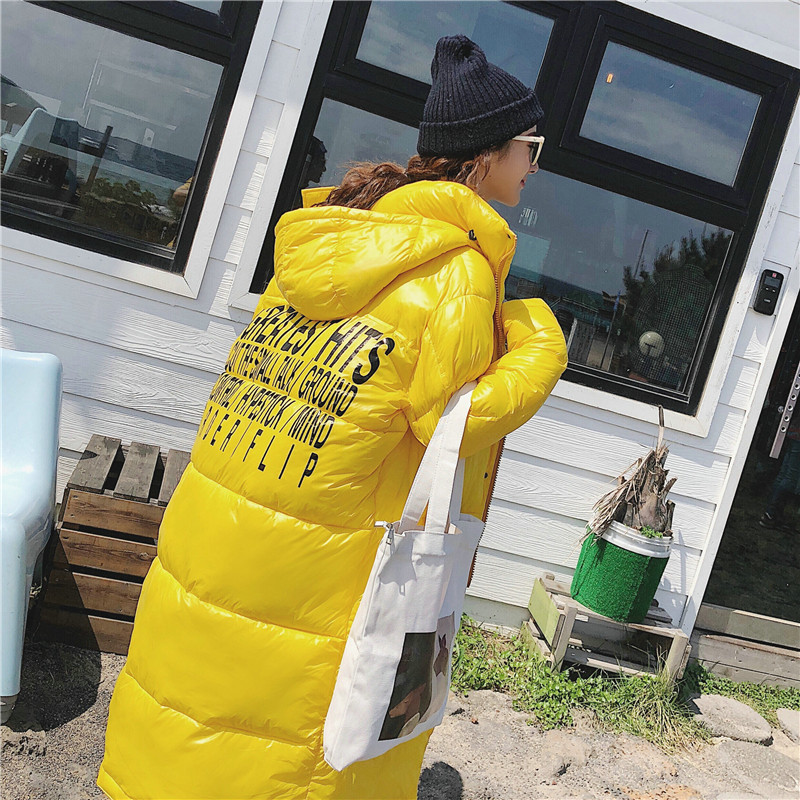 2019 Women Winter Letter Print Black Yellow Maxi Long Duck   Down     Coat   Ladies warm Parka Plus Size Loose Long   Down   Jackets N906