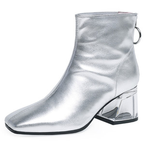 Image 4 - FEDONAS Autumn Winter Fashion Genuine Leather Women Ankle Boots Back Zipper High Heels Party Night Club Shoes Woman Short Boots