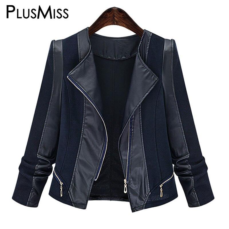 PlusMiss Plus Size 5XL Gothic Faux   leather   PU Jacket Women Autumn Winter 2018 Big Size Black Motorcycle Jacket coats Outerwear
