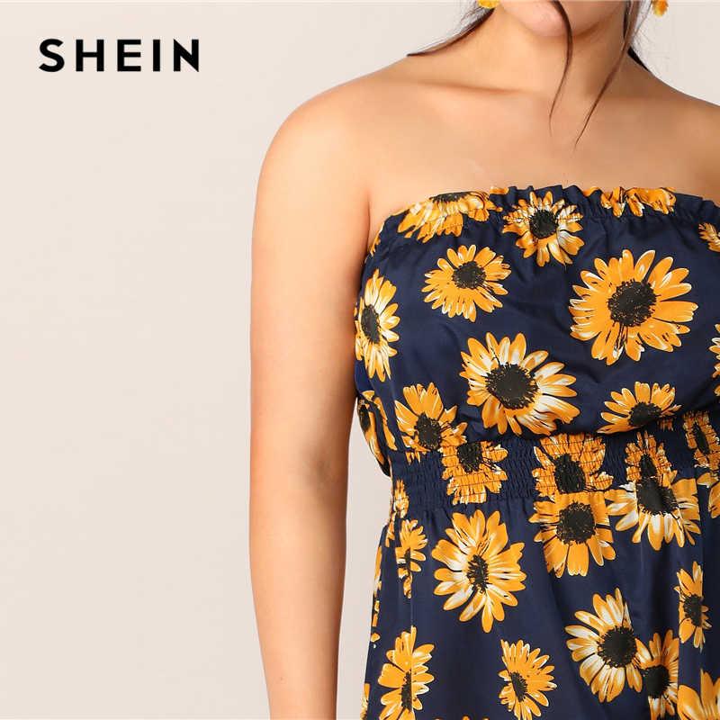SHEIN Plus Sunflower Druck Geraffte Taille Rohr Strampler 2019 Boho Sommer Krause Overall Sleeveless Liebsten Overalls