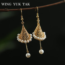 wing yuk tak Bohemia Freshwater Pearls Tassel Earings For Women Luxury Crown Drop Earrings Party Accessories