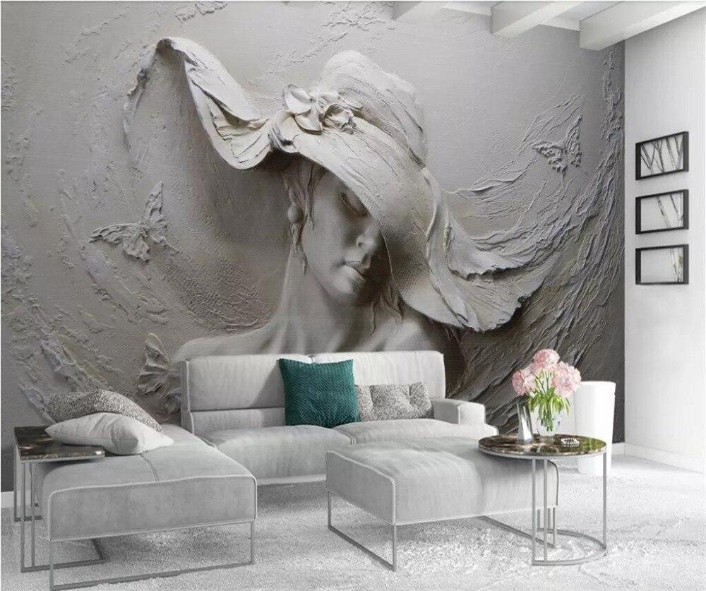 €8.08 41% de réduction|Beibehang personnalisé papier peint 3D stéréo  peintures murales en relief gris beauté peinture à l\'huile moderne  abstraite Art ...