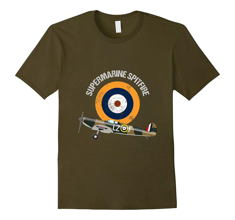 2019 Hot Sale 100% Cotton Supermarine Spitfire RAF Warbird Military WW2 Aircraft Plane Summer Style Tee Shirt
