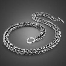 Colar de pingente de dragão dos homens do vintage jóias punk moda 10 mm 56 cm 100% 925 prata esterlina colar de prata sólida presente do homem
