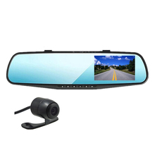 Best Buy 4.3 inch full HD 1080P dual lens Car DVR Rearview Mirror Dash Cam   4x Digital Zoom motion detection Video Recorder