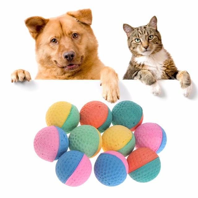 10 pcs pet toy latex balls colorful chew for dogs cats puppy kitten soft elastic