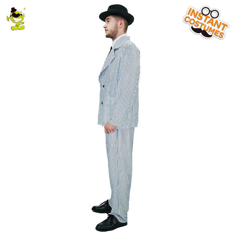 feb97fd8b96ec4 ... Luxury Men's Gangster Costume Halloween Carnival Party Slim Fit Outfit  Movie Star Handsome Man Cosplay Gangster