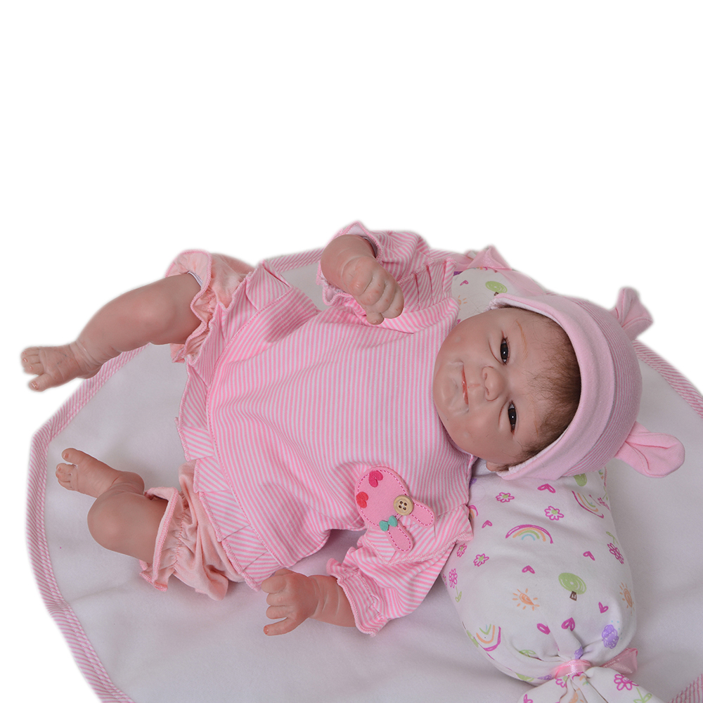 Lovely 18 inch 45 CM Soft Silicone Reborn Babies Dolls Girl Handmade Realistic Newborn Baby Doll Toy For Children Birthday Gifts 49 cm dolls reborn baby born vinyl doll toy for children birthday gifts 20 inch reborn babies bonecas handmade baby toys gift