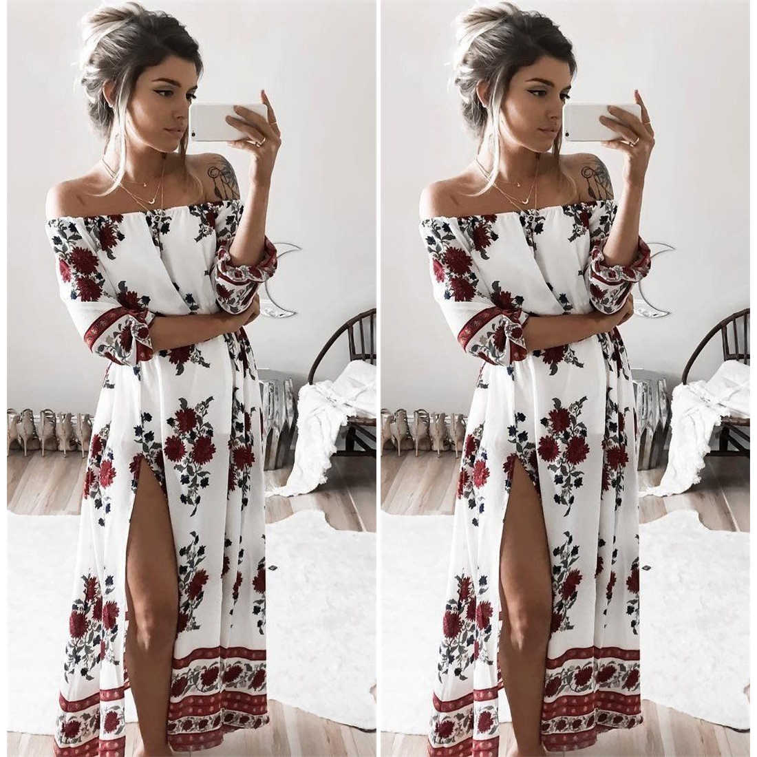 2ee1a3e042 ... Women Vintage Floral Printed 2019 Spring Summer Boho Beach Dresses Off  Shoulder Half Sleeve Split Dress ...
