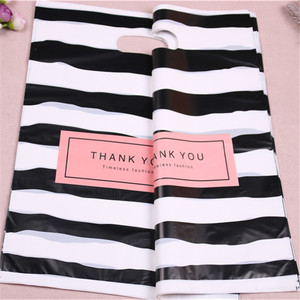 Image 3 - Yeni tasarım toptan 100 adet/grup 25*35cm lüks moda alışveriş plastik hediye çantaları teşekkür ederim doğum günü ambalaj
