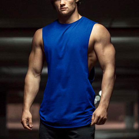 New Summer Gyms Fitness Bodybuilding Tank Tops Stringer fashion mens workout clothing Loose open side sleeveless shirts Vest Karachi
