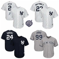 MLB Stitched 2 Derek Jeter Retirement Patch Baseball Jerseys 23 Don Mattingly 24 Gary Sanchez 99