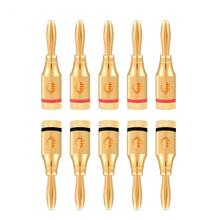 10 Pcs Gold Plated Speaker Banana Plug Wire Audio Connector Adapter