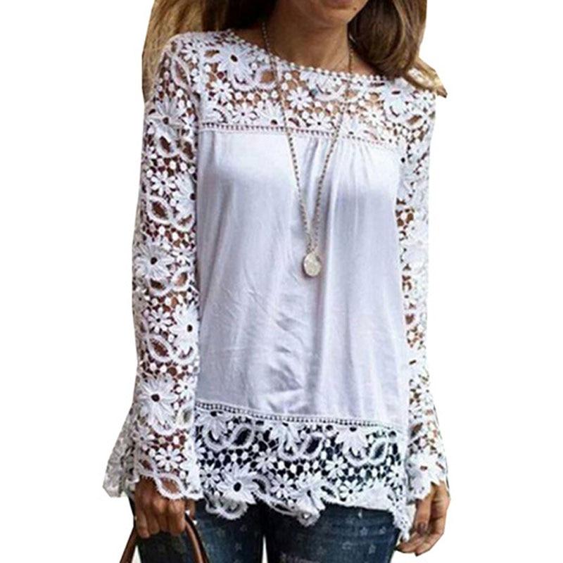7XL Plus Size Tops Spring Summer White   Blouses   Women   Shirts   Lace   Blouse   Patchwork Loose   Shirt   Camisa Blusas Feminina 6XL