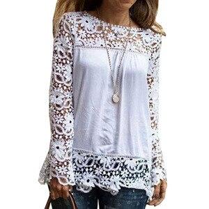 7XL Plus Size Tops Spring Summer White Blouses Women Shirts Lace Blouse Patchwork Loose Shirt Camisa Blusas Feminina 6XL(China)