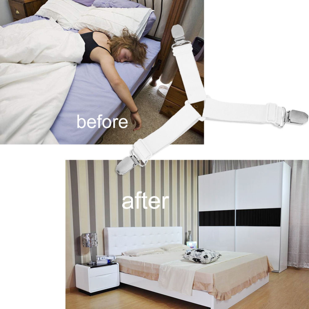 4pcs Useful Elastic Bed Sheet Clip Bed Mattress Sheet Clips Straps