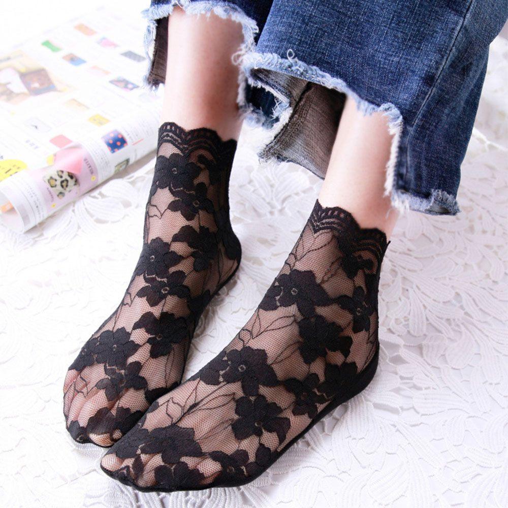 1 Pair Women Fashion Socks Spring Summer Mesh Cotton Breathable Socks Solid Lace Thin Casual Soc