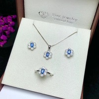 Special offer Natural sapphire set, 925 silver, Australian sapphire, beautiful color. Ring necklace stud earrings.