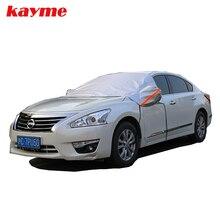 Kayme Universal Car Mitad Covers Estilo Lámina Impermeable Espesar Nieve Escudo Coche Sombrilla Anti-UV Protección Nieve Cubiertas Para Automóviles