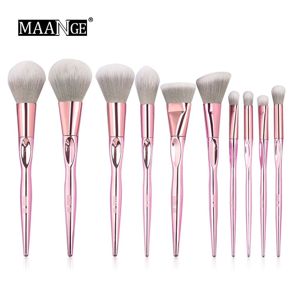 New Arrival MAANGE 10pcs Pink Makeup brushes set Beauty Make up brush Cosmetic women blush Powder Foundation Eyeshadow brushes makeup cosmetic soft foundation powder brush beauty marble make up tools brushes set 10pcs
