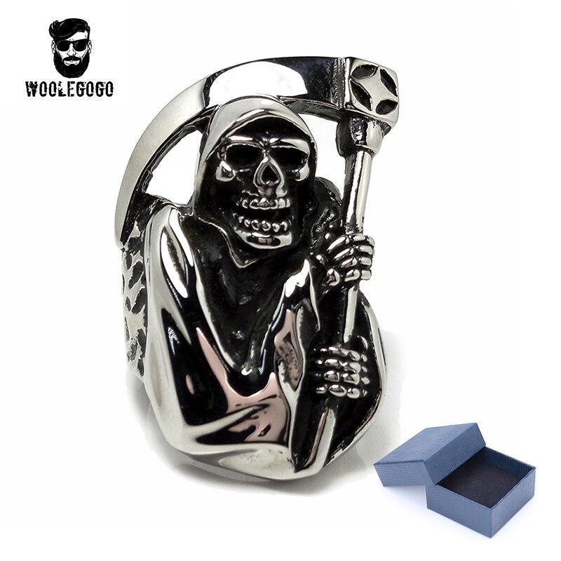 Stainless Steel Death Skull with Sickle Men Ring Vintage Punk Rock Biker Rings Mens Jewelry Casting Skeleton Black Silver Ring цена