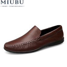 MIUBU Big Size 36-47 Slip On Casual Men Loafers Spring And Autumn Mens Moccasins Shoes Genuine Leather MenS Flats