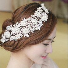 Himstory Rhinestone Beads Super Luxury Imitated Pearl Wedding Hair Accessories hHairbands Bridal Tiara Wear wholesale