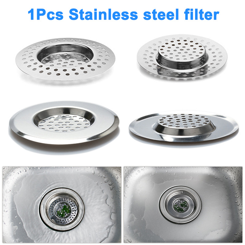 Kitchen Sink Strainer Stainless Steel Drain Filter With Large Wide Rim Can Hair Catcher Cover Bath Kitchen Gadgets Accessories