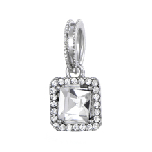 Romantic New Gold / Silver Square Crystal Love Pendant Charm Fits Brand Bracelet & Necklace DIY Jewelry