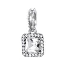 купить Romantic New Gold / Silver Square Crystal Love Pendant Charm Fits Brand Charm Bracelet & Necklace DIY Jewelry дешево
