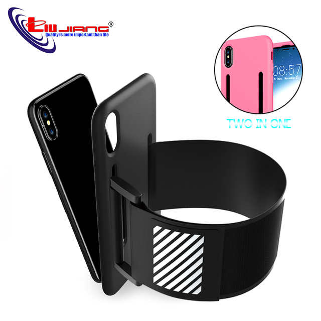 the latest e84cd 31483 US $3.24 17% OFF|Liujiang Two in one Phone Cases for iPhone X Sport Armband  Arm Band Belt Cover Running GYM Bag Case for Apple x Mobile-in Armbands ...