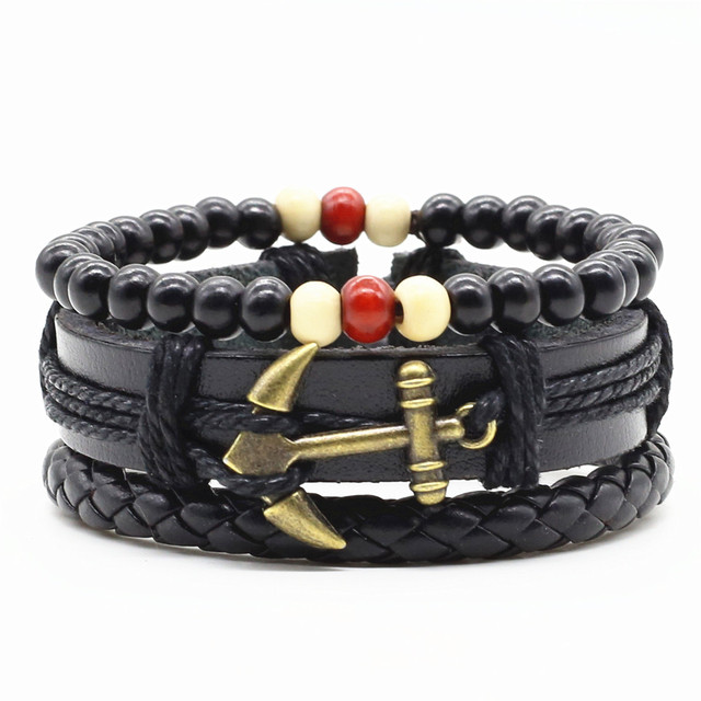 Three Layers Unisex Bracelet with Wood and Leather Combination