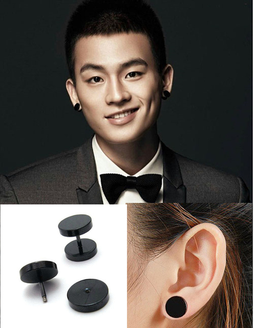 Punk Style 2pcs Medical Anium Black Round Barbell Stud Earrings Men S Jewelry Rock Gothic Uni Piercing Earring
