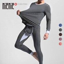 Купить с кэшбэком Men's Cotton Thermal Underwear Striped Long Johns Warm O-Neck Undershirts Elastic Sleepwear Pajamas Winter Autumn 1Set=top+pants