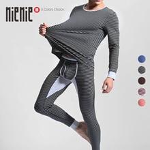 Men's Cotton Thermal Underwear Striped Long Johns Warm O-Neck Undershirts Elastic Sleepwear Pajamas Winter Autumn 1Set=top+pants