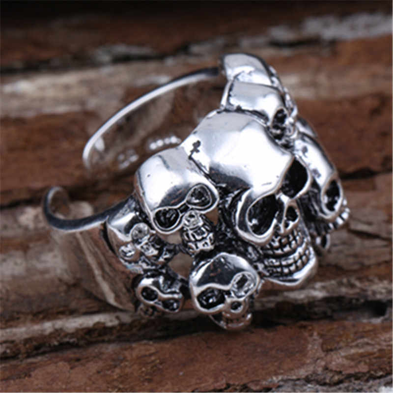 ใหม่แฟชั่นผู้ชายสีดำ gold skull แหวน Gothic punk แหวนสไตล์เย้ายวน skull แหวนเปิดแหวนของขวัญฮาโลวีนตลก