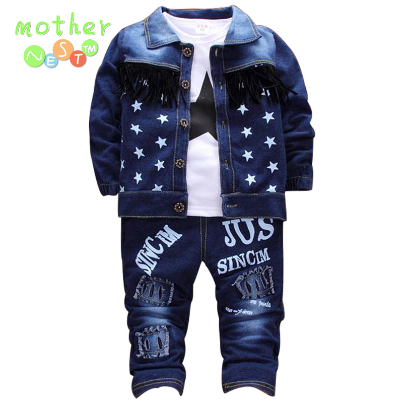Kids Clothes Boys Clothing set 3pcs Cotton Shirt + kids Pants Toddler Boys Clothing Children Suits Baby Boy Clothes Set 2017