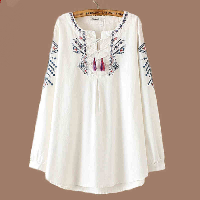 f4c0a1654454b Floral Embroidered Women Plus Size Blouses 2018 Spring Long Sleeve Shirt  Women Tops Casual Cotton Linen Blouse Chemise Femme C78