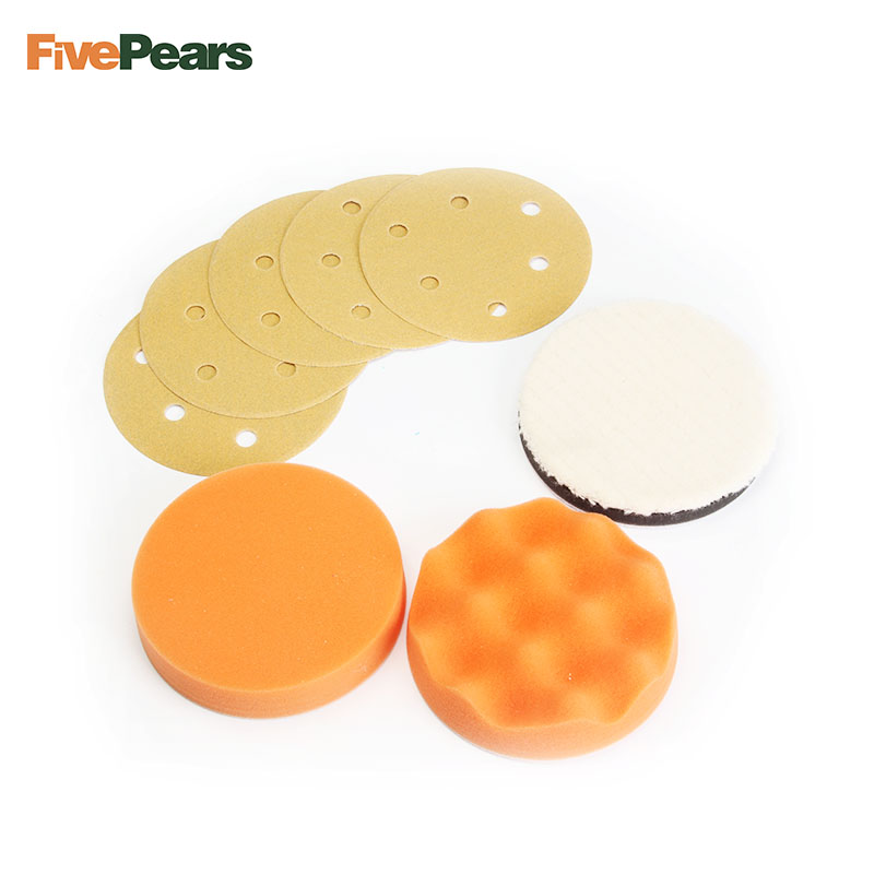 FivePears 8pcs 5 125mm 6 150mm air sanding disc pad Polishing Foam Pad Pneumatic Sander Accessories set free shipping