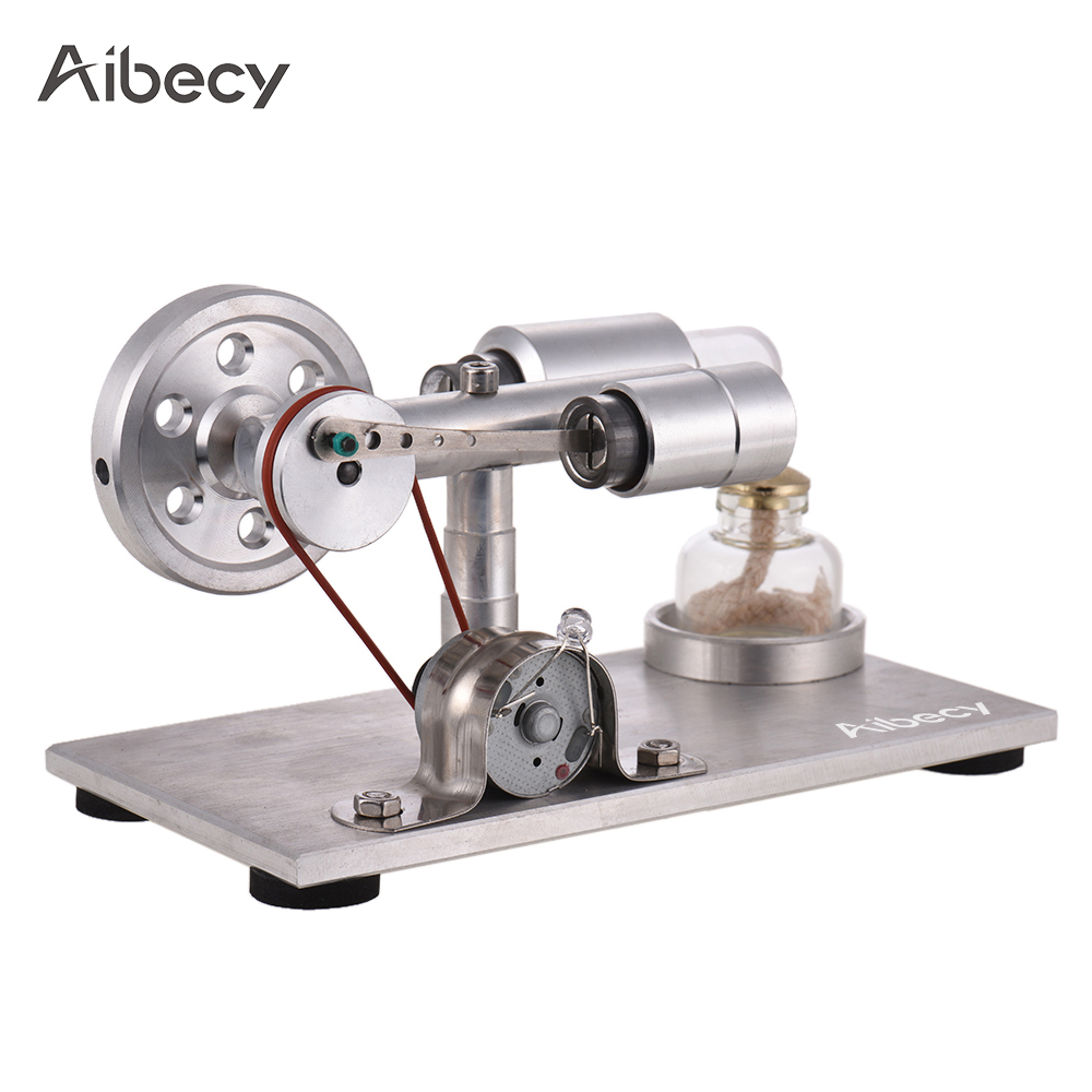 Aibecy Hot Air Stirling Engine Motor Model Electricity Power Generator with LED Physics Educational Brinquedos for